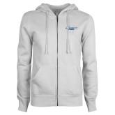 ENZA Ladies White Fleece Full Zip Hoodie-Primary Mark Flat