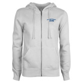 ENZA Ladies White Fleece Full Zip Hoodie-Arched Connecticut College Camels