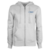 ENZA Ladies White Fleece Full Zip Hoodie-Arched Connecticut College