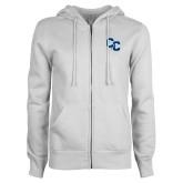 ENZA Ladies White Fleece Full Zip Hoodie-Interlocking CC