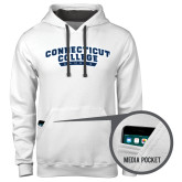 Contemporary Sofspun White Hoodie-Arched Connecticut College Camels