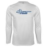 Performance White Longsleeve Shirt-Primary Mark Flat