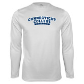 Performance White Longsleeve Shirt-Arched Connecticut College Camels