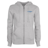 ENZA Ladies Grey Fleece Full Zip Hoodie-Arched Connecticut College
