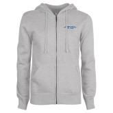 ENZA Ladies Grey Fleece Full Zip Hoodie-Arched Connecticut College