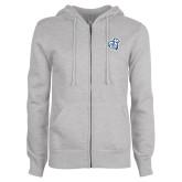 ENZA Ladies Grey Fleece Full Zip Hoodie-Camel with CC