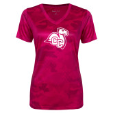 Ladies Pink Raspberry Camohex Performance Tee-Camel with CC