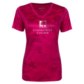 Ladies Pink Raspberry Camohex Performance Tee-Institutional Mark