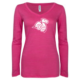 ENZA Ladies Hot Pink Long Sleeve V Neck Tee-Camel with CC