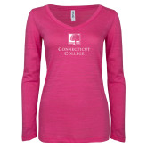 ENZA Ladies Hot Pink Long Sleeve V Neck Tee-Institutional Mark