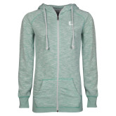 ENZA Ladies Seaglass Marled Full Zip Hoodie-Institutional Mark