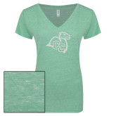 ENZA Ladies Seaglass Melange V Neck Tee-Camel with CC