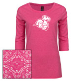 Ladies Dark Fuchsia Heather Lace 3/4 Sleeve Tee-Camel with CC