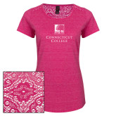 Ladies Dark Fuchsia Heather Lace Tee-Institutional Mark