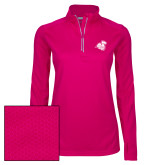 Ladies Pink Raspberry Sport Wick Textured 1/4 Zip Pullover-Camel with CC