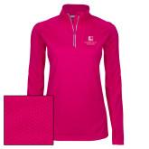 Ladies Pink Raspberry Sport Wick Textured 1/4 Zip Pullover-Institutional Mark