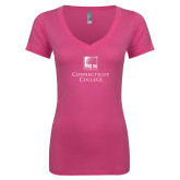 Next Level Ladies Junior Fit Deep V Pink Tee-Institutional Mark