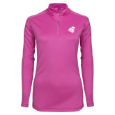 Ladies Syntrel Interlock Raspberry 1/4 Zip-Camel with CC