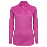 Ladies Syntrel Interlock Raspberry 1/4 Zip-Institutional Mark