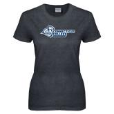 Ladies Dark Heather T Shirt-Primary Mark Flat