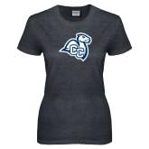 Ladies Dark Heather T Shirt-Camel with CC