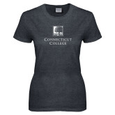 Ladies Dark Heather T Shirt-Institutional Mark