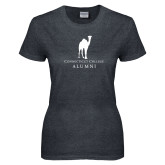 Ladies Dark Heather T Shirt-Vintage Camel Alumni
