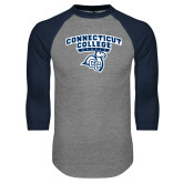 Grey/Navy Raglan Baseball T Shirt-Primary Mark