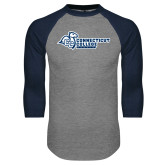 Grey/Navy Raglan Baseball T Shirt-Primary Mark Flat