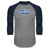Grey/Navy Raglan Baseball T Shirt-Arched Connecticut College Camels