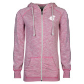 ENZA Ladies Hot Pink Marled Full Zip Hoodie-Camel with CC