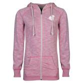 ENZA Ladies Hot Pink Marled Full Zip Hoodie-Camel with CC