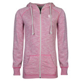 ENZA Ladies Hot Pink Marled Full Zip Hoodie-Institutional Mark
