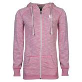 ENZA Ladies Hot Pink Marled Full Zip Hoodie-Institutional Mark