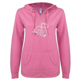 ENZA Ladies Hot Pink V Notch Raw Edge Fleece Hoodie-Camel with CC
