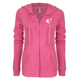 ENZA Ladies Hot Pink Light Weight Fleece Full Zip Hoodie-Camel with CC