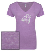 ENZA Ladies Violet Melange V Neck Tee-Camel with CC