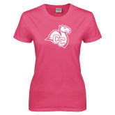 Ladies Fuchsia T Shirt-Camel with CC