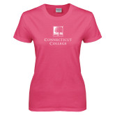 Ladies Fuchsia T Shirt-Institutional Mark