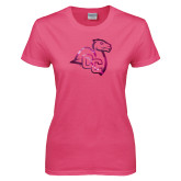 Ladies Fuchsia T Shirt-Camel with CC  Foil