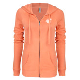ENZA Ladies Coral Light Weight Fleece Full Zip Hoodie-Camel with CC