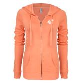ENZA Ladies Coral Light Weight Fleece Full Zip Hoodie-Camel with CC