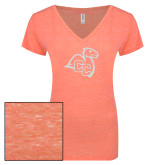 ENZA Ladies Coral Melange V Neck Tee-Camel with CC