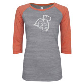 ENZA Ladies Dark Heather/Coral Vintage Baseball Tee-Camel with CC