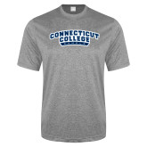 Performance Grey Heather Contender Tee-Arched Connecticut College Camels