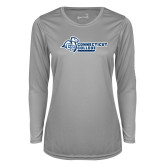 Ladies Syntrel Performance Platinum Longsleeve Shirt-Primary Mark Flat