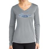 Ladies Syntrel Performance Platinum Longsleeve Shirt-Primary Mark Flat