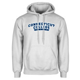 White Fleece Hoodie-Arched Connecticut College Camels