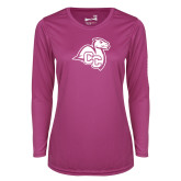 Ladies Syntrel Performance Raspberry Longsleeve Shirt-Camel with CC
