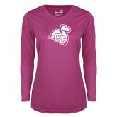 Ladies Syntrel Performance Raspberry Longsleeve Shirt-Camel with CC